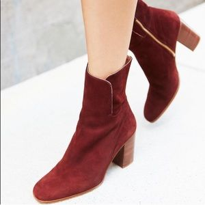 Free people burgundy suede heel booties size 38